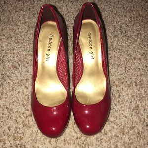 Red, Glossy, Madden Girl heels
